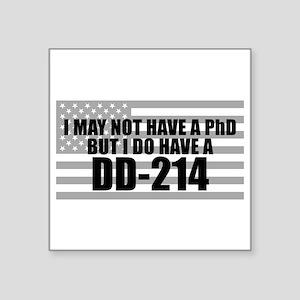 "American Flag DD214 Square Sticker 3"" x 3"""