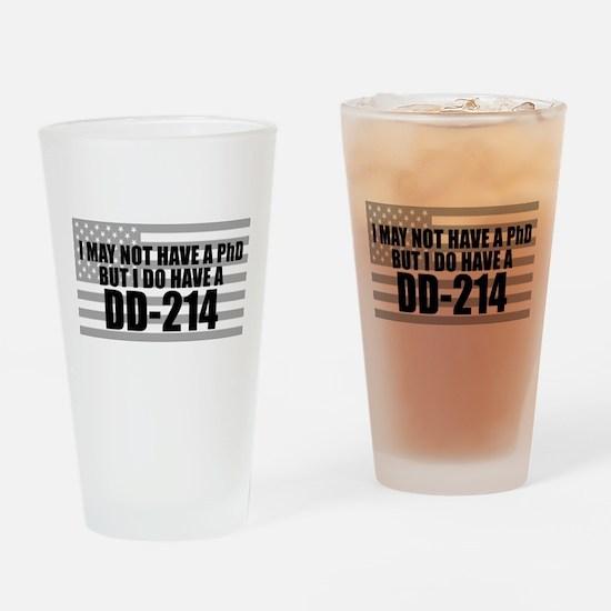 American Flag DD214 Drinking Glass