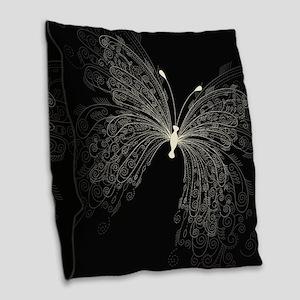 Elegant Butterfly Burlap Throw Pillow