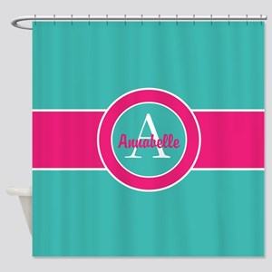 Teal Pink Monogram Personalized Shower Curtain
