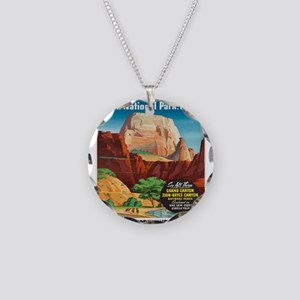 Vintage poster - Zion Nation Necklace Circle Charm