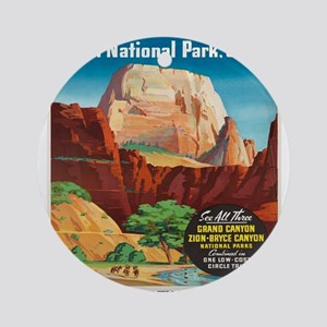 Vintage poster - Zion National Park Round Ornament