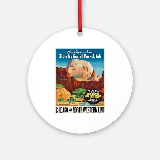 Vintage poster - Zion National Park Round Ornament