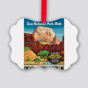 Vintage poster - Zion National Pa Picture Ornament