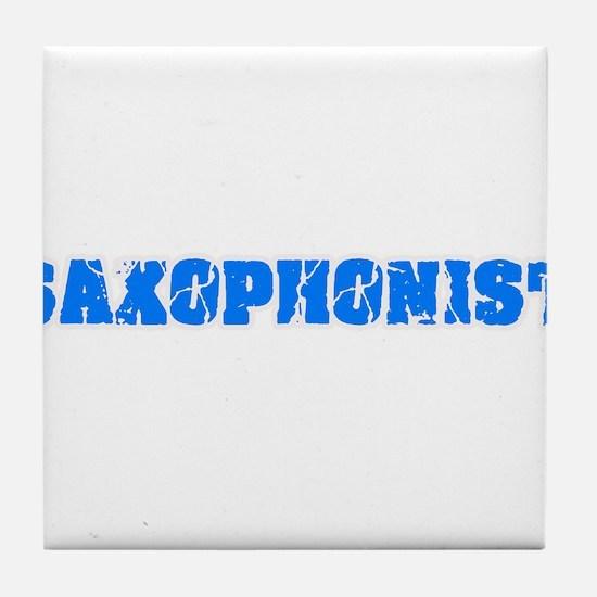 Saxophonist Blue Bold Design Tile Coaster