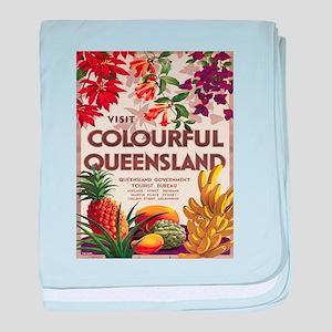 Vintage poster - Queensland baby blanket