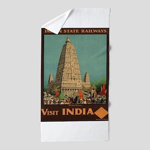 Vintage poster - India Beach Towel