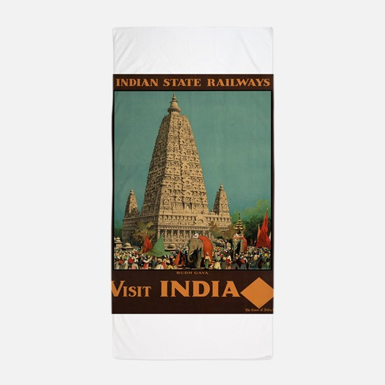 Vintage poster - India Beach Towel