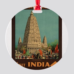 Vintage poster - India Round Ornament