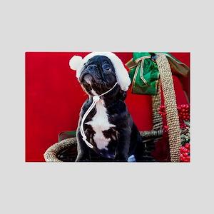 Black French Bulldog Puppy Wearing a Santa Magnets