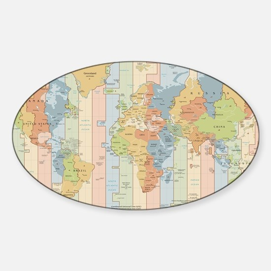 World Time Zone Map Bumper Stickers