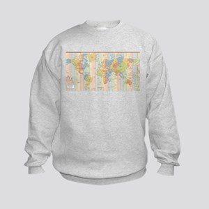 World Time Zone Map Kids Sweatshirt