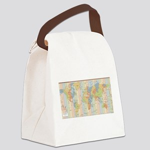 World Time Zone Map Canvas Lunch Bag