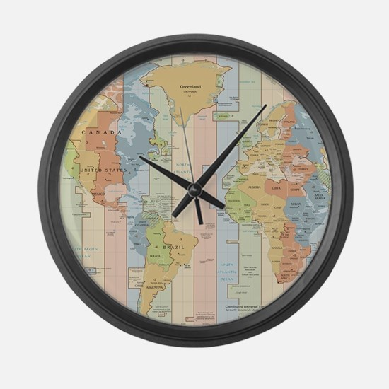 World Time Zone Map Large Wall Clock
