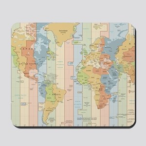 World Time Zone Map Mousepad