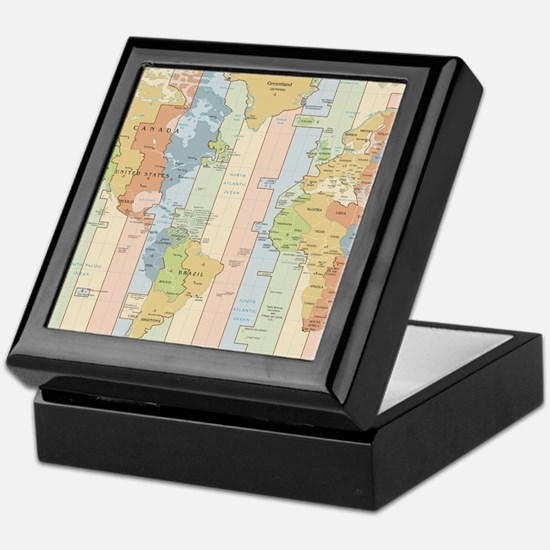World Time Zone Map Keepsake Box
