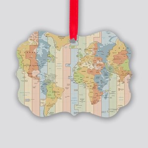 World Time Zone Map Picture Ornament