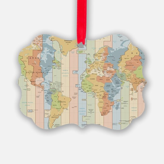 World Time Zone Map Ornament