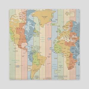World Time Zone Map Queen Duvet