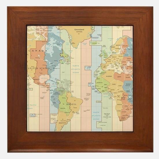 World Time Zone Map Framed Tile