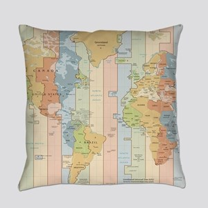 World Time Zone Map Everyday Pillow