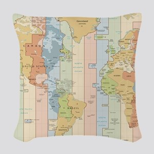 World Time Zone Map Woven Throw Pillow