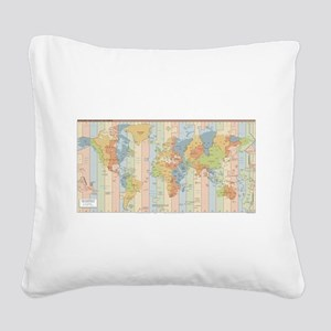 World Time Zone Map Square Canvas Pillow