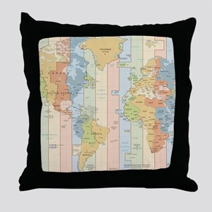 World Time Zone Map Throw Pillow