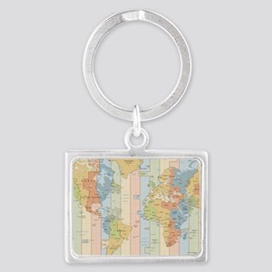 World Time Zone Map Keychains
