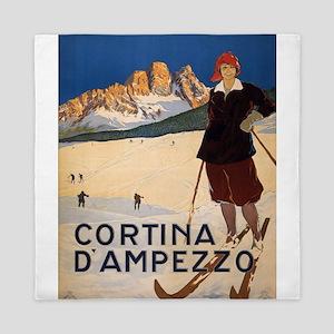 Vintage poster - Cortina d'Amprezzo Queen Duvet