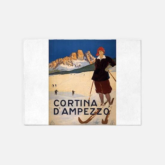 Vintage poster - Cortina d'Amprezzo 5'x7'Area Rug
