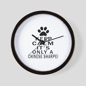 Chinese Sharpei Keep Calm Designs Wall Clock