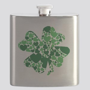 Shamrock With Green Hearts St Patricks Day Flask