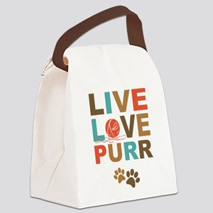 Live Love Purr Canvas Lunch Bag