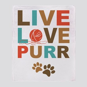 Live Love Purr Throw Blanket