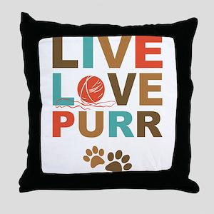 Live Love Purr Throw Pillow