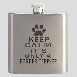Border Terrier Keep Calm Designs Flask