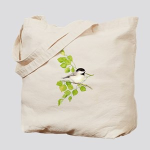 Watercolor Chickadee Bird in Poplar Tree Tote Bag