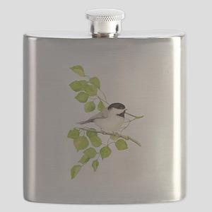Watercolor Chickadee Bird in Poplar Tree Flask
