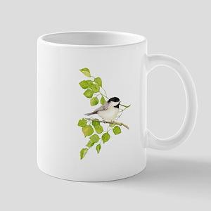 Watercolor Chickadee Bird in Poplar Tree Mugs