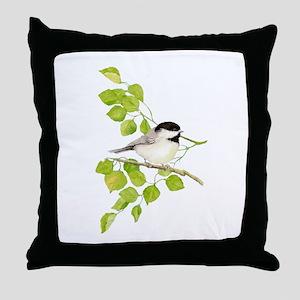 Watercolor Chickadee Bird in Poplar Tree Throw Pil