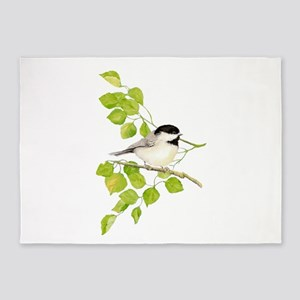 Watercolor Chickadee Bird in Poplar Tree 5'x7'Area