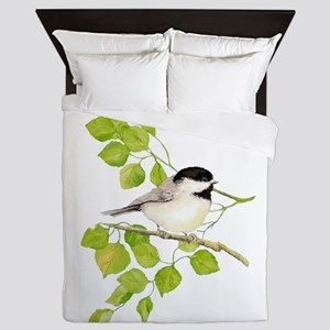 Watercolor Chickadee Bird in Poplar Tree Queen Duv