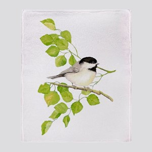 Watercolor Chickadee Bird In Poplar Throw Blanket