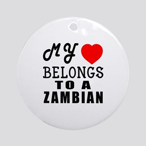 I Love Zambian Round Ornament