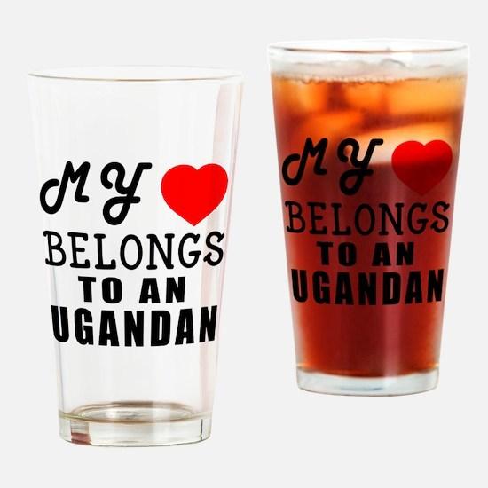 I Love Ugandan Drinking Glass