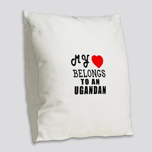 I Love Ugandan Burlap Throw Pillow