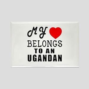 I Love Ugandan Rectangle Magnet