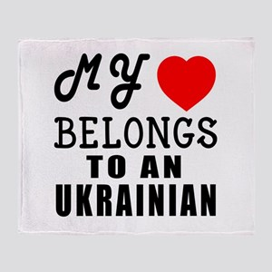 I Love Ukrainian Throw Blanket