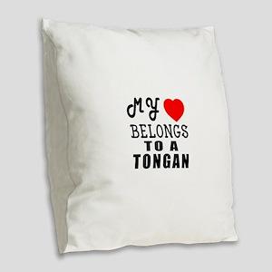 I Love Tongan Burlap Throw Pillow